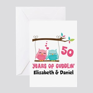 50th Anniversary 50 Years Owls Personalized Greeti