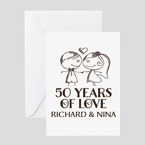 50th anniversary greeting cards cafepress 50th wedding anniversary personalized greeting car m4hsunfo