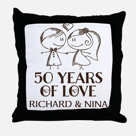 50th Wedding Anniversary Personalized Throw Pillow