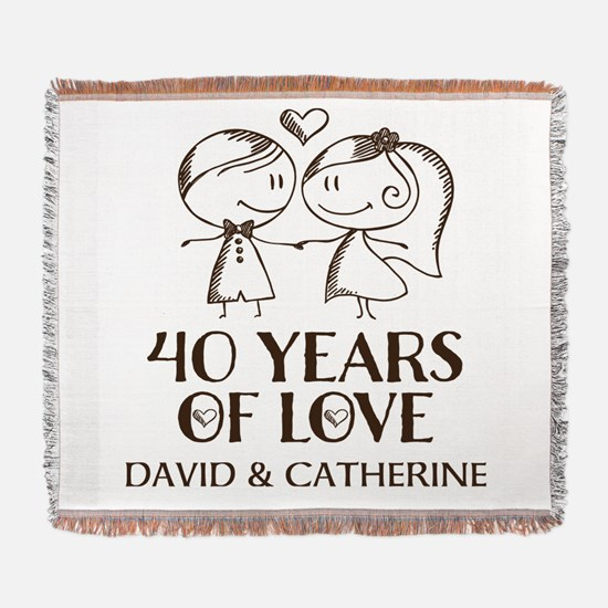 40th Wedding Anniversary Personalized Woven Blanke