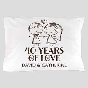 40th Wedding Anniversary Personalized Pillow Case
