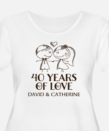 40th Wedding Anniversary Personalized Plus Size T-
