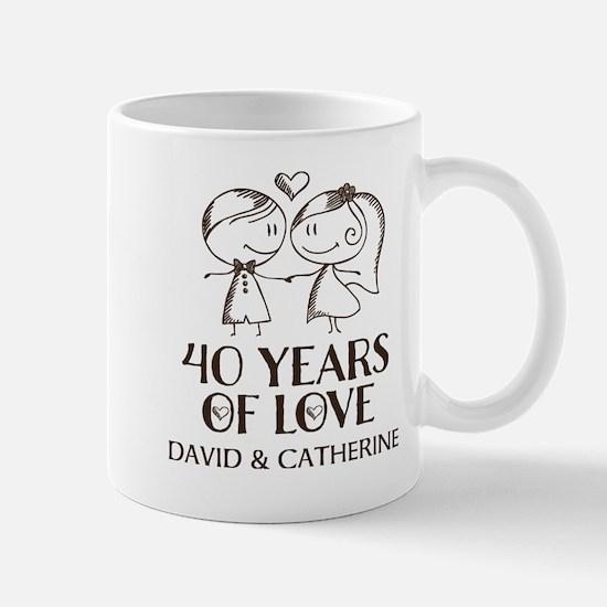 40th Wedding Anniversary Personalized Mugs