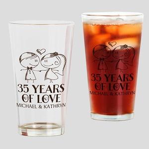 35th Wedding Anniversary Personalized Drinking Gla
