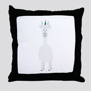 Alpaca with Unicorn Rainbow Horn Throw Pillow
