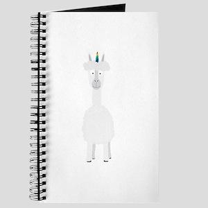 Alpaca with Unicorn Rainbow Horn Journal