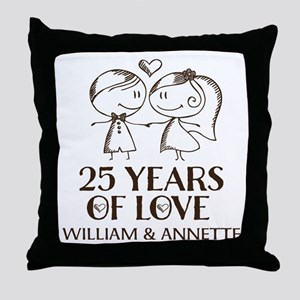 25th Wedding Anniversary Personalized Throw Pillow