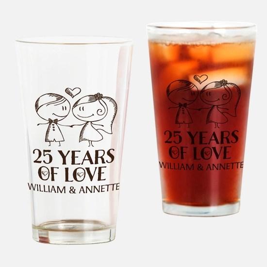 25th Wedding Anniversary Personalized Drinking Gla