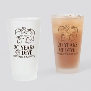20th Wedding Anniversary Personalized Drinking Gla