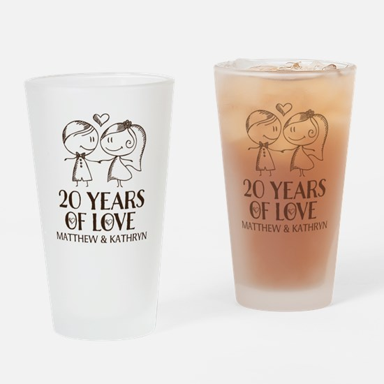 20th Wedding Anniversary Personalized Drinking Gla
