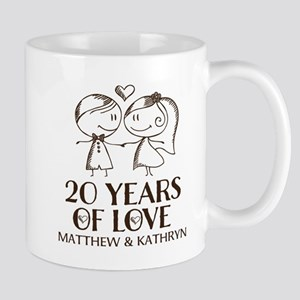 20th Wedding Anniversary Personalized Mugs