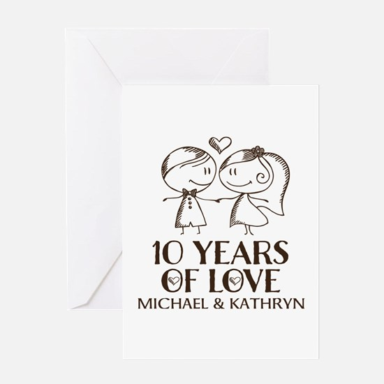 10th Wedding Anniversary Personalized Greeting Car