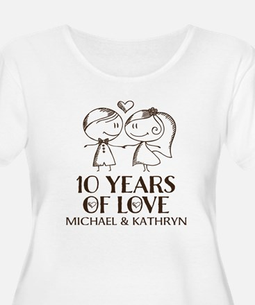 10th Wedding Anniversary Personalized Plus Size T-