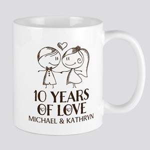 10th Wedding Anniversary Personalized Mugs