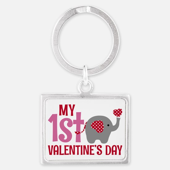 Funny First valentines day Landscape Keychain