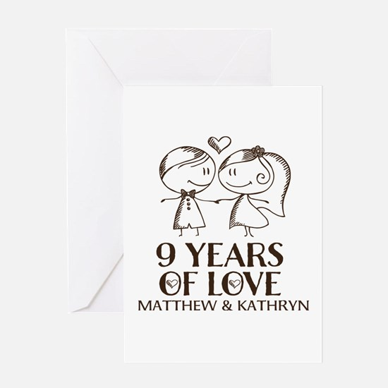 9th Wedding Anniversary Personalized Greeting Card