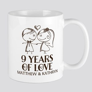 9th Wedding Anniversary Personalized Mugs