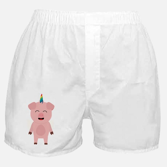 Pig with Unicorn Horn Boxer Shorts