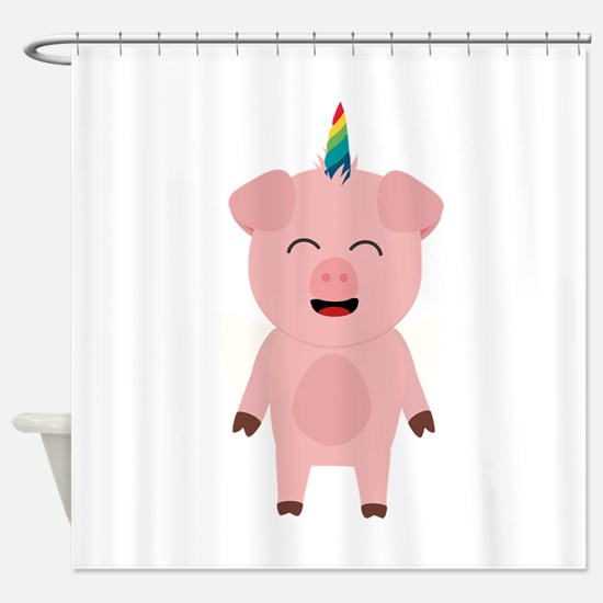 Pig with Unicorn Horn Shower Curtain