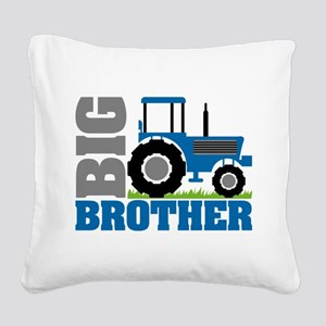 Blue Tractor Big Brother Square Canvas Pillow