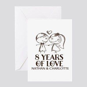 8th Wedding Anniversary Personalized Greeting Card