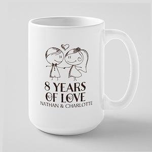 8th Wedding Anniversary Personalized Mugs