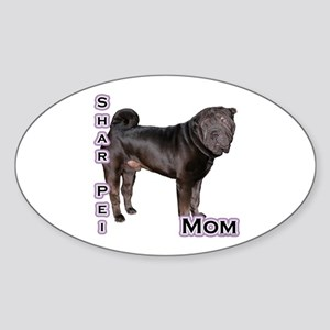 Shar Pei Mom4 Oval Sticker