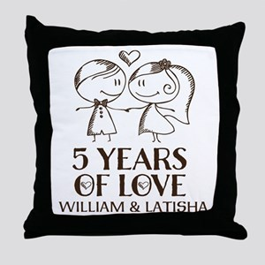 5th Wedding Anniversary Personalized Throw Pillow