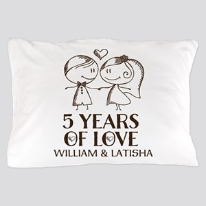 5th Wedding Anniversary Personalized Pillow Case