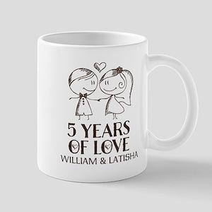 5th Wedding Anniversary Personalized Mugs