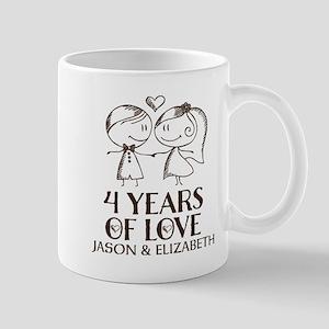 4th Wedding Anniversary Personalized Mugs