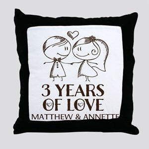 3rd Wedding Anniversary Personalized Throw Pillow