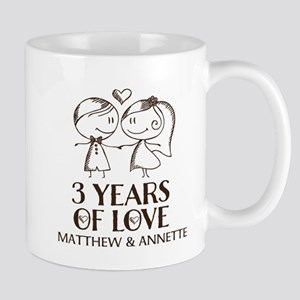 3rd Wedding Anniversary Personalized Mugs