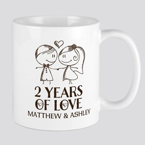 2nd Wedding Anniversary Personalized Mugs