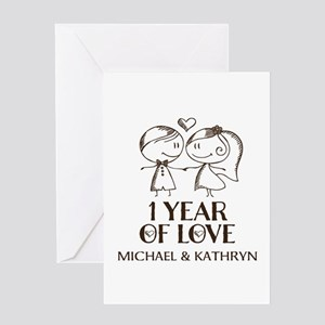 1st wedding anniversary greeting cards cafepress 1st wedding anniversary personalized greeting card m4hsunfo