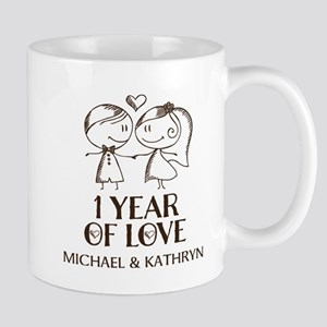 1st Wedding Anniversary Personalized Mugs