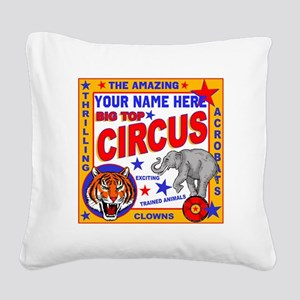 Vintage Circus Poster Square Canvas Pillow