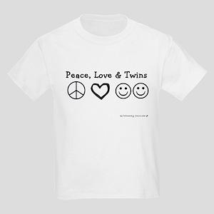 Peace, Love & Twins Kids T-Shirt