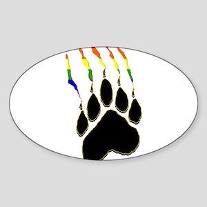 Gay Pride Paw Rip Rectangle Sticker