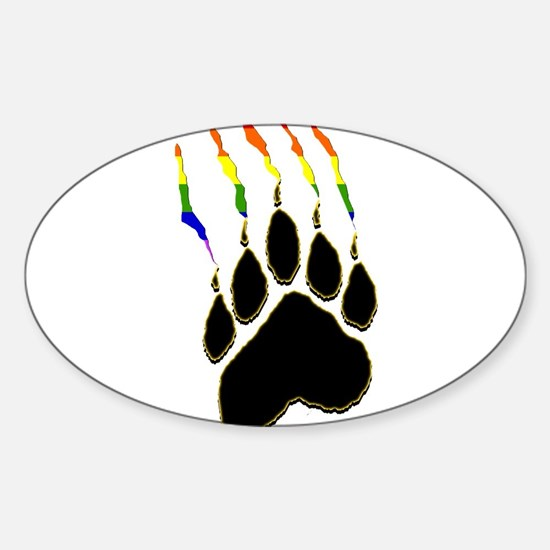 Gay Pride Paw Rip Rectangle Decal