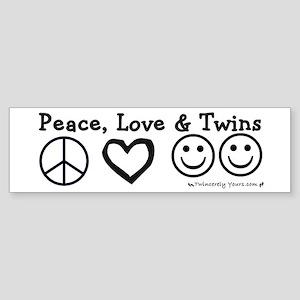 Peace, Love & Twins Bumper Sticker