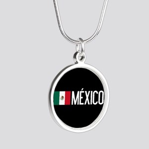 Mexican Flag & México Silver Round Necklace