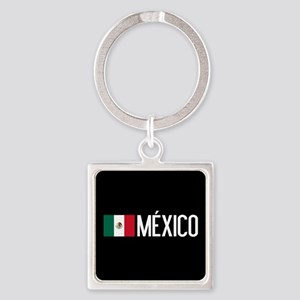 Mexican Flag & México Square Keychain