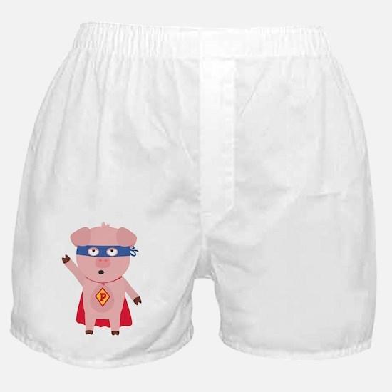 Superhero Pig Boxer Shorts