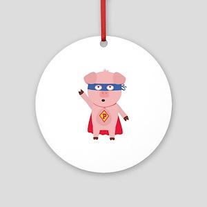 Superhero Pig Round Ornament