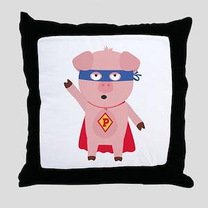Superhero Pig Throw Pillow