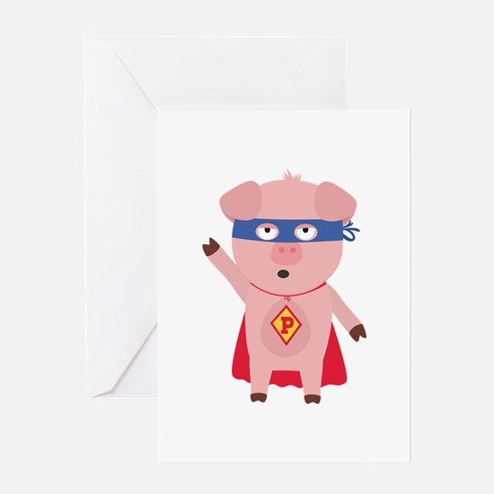 Superhero Pig Greeting Cards