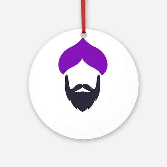 Funky Singh Purple Round Ornament