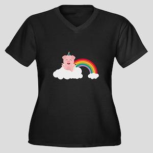 Unicorn Pig on cloud Plus Size T-Shirt