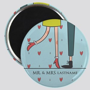Fancy Mr. and Mrs. Love Hearts Personalized Magnet